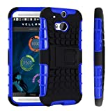 Magic Global Gadgets - Blue Heavy Duty Armour Tough Shockproof Stand Hard Case Cover For HTC One M8 (2014) / All new HTC One M8 With Screen Guard, Cleaning Cloth & MGG Stylus