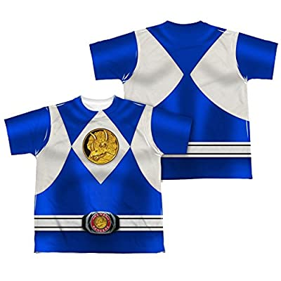 Mighty Morphin Power Rangers Blue Ranger Emblem Costume - All Over Youth Front / Back T-Shirt