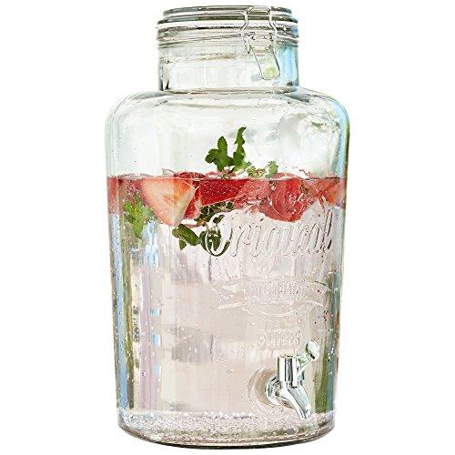 Erogatore barattolo con spina per bevande, vetro, 8 litri