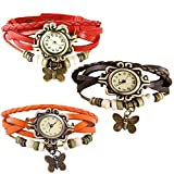 Combo of 3 VB-310 Vintage Butterfly Brown + Orange + Red