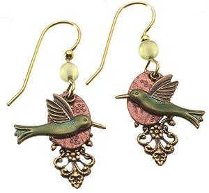 Silver Forest Hummingbird Dangle Earrings One Size