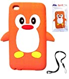 BUKIT CELL Apple IPOD TOUCH 4 4G 4TH GENERATION (ITOUCH 4 8GB 16GB 32GB) Orange Penguin Silicone Silicon Case Cover + Free Detachable Neck Strap / Lanyard