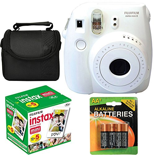Fujifilm Instax Mini 8 Instant Film Camera (White) With Fujifilm Instax Mini 5 Pack Instant Film (50 Shots) + Compact Bag Case + Batteries Top Kit (Import No us Warranty)