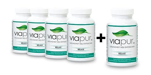 viapur® RELAX, Aminosäuren, Mineralstoffe und Vitamine, 4 Dosen + 1 Dose Gratis, ausreichend fur 5 Monate