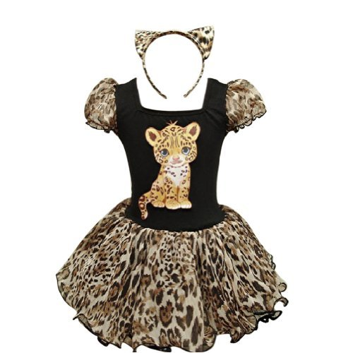 iEFiEL Girls Adorable Leopard Dance Tutu Costume with Ear