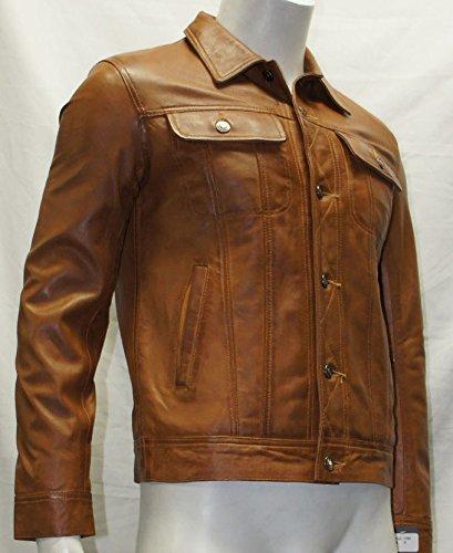 Man braune Farbe Trucker Stil kurze Lederjacken jetzt kaufen
