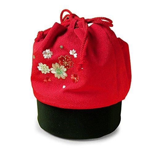 巾着 バッグ 丸底ちりめん 桜刺繍 赤