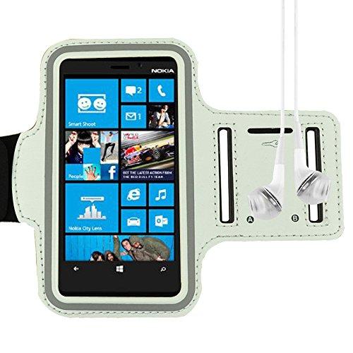 White Sports Armband For Nokia Lumia 1020 920 925 520 521 Motorola Moto X Moto G Galaxy S4 S3 + Vangoddy Headphone With Mic , White