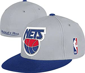 New Jersey Nets Mitchell & Ness Cool Grey 2-Tone XL Fitted Hat by Mitchell & Ness