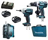 Makita 18V LXT Li Ion LXT202 Kit BHP458, BTD140 & BMR101 Job Site Radio