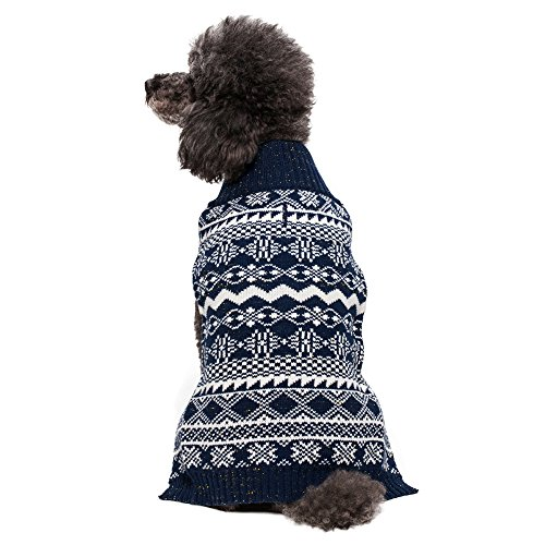 Blueberry Pet 14-Inch Holiday Season Fair Isle Style Dog Sweater, Large, Midnight Blue front-930174