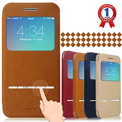 """Baseus iPhone 6 Plus Case, Aerb Classic Series Smart Window View Touch Metal Front Flip Cover Folio Case for iPhone 6 Plus 5.5"""" (B-Brown Case)"""