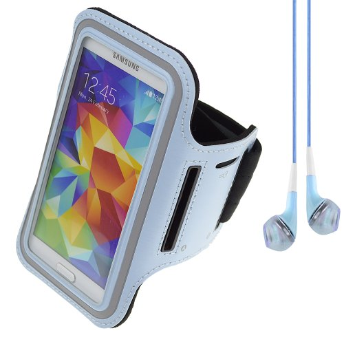 Workout Running Armband Pouch Case For Samsung Galaxy Series Smartphones S5 / S4 / Htc One M8 + Vangoddy Headphones With Mic (Blue)