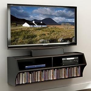 Prepac Altus Wall Mounted Audio/Video Console, Black