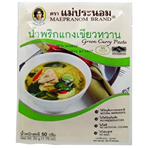 Green Curry Paste 50 G (1.76 Oz.) Thai Herbal Food X 2 Bags