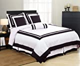 White with Black Square Pattern Hotel Duvet Cover 7 Piece Bedding Set for C ....