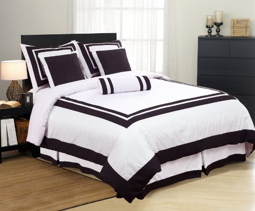 White  Black Square Pattern Hotel Duvet Cover