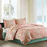 Echo Guinevere Comforter Set, King, Coral/Sea Foam