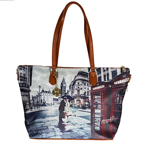 Y NOT? - Borsa shopper donna clip manici shopping grande g-397 londra romantic
