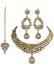 I Jewels Traditional Gold Plated Kundan Necklace Set With Maang Tikka For Women (Light Green)(K7056P)