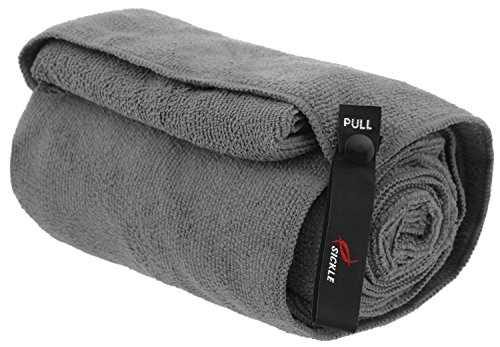 sickle-microfiber-sports-towel-with-storage-bag-and-graphite-gray-large-28in-x-54in