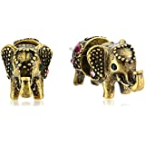 """Betsey Johnson """"BJ's Menagerie"""" Elephant Front and Back Stud Earrings"""