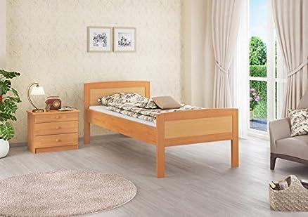 60, 72-12 M anziani letto in legno di Faggio a bordo alto, 120 x 200 cm, con roll ruggine u materasso