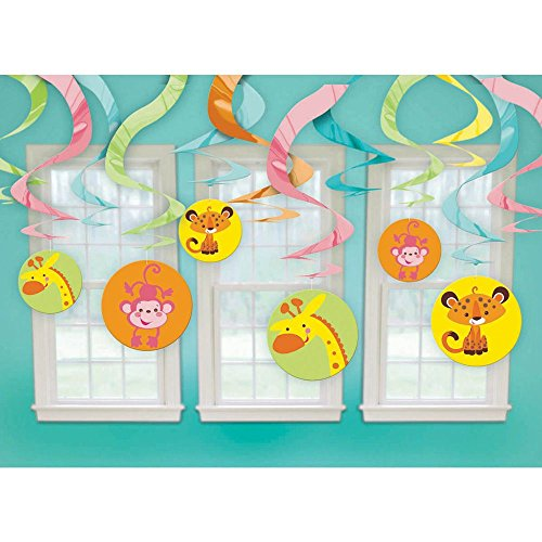 Fisher Price Animals of the Rain Forest Hanging Swirl Decorations (12pc) (Animal Shower Decorations compare prices)