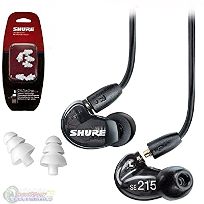 Shure SE215-K Sound Isolating In Ear Stereo Earphones (Black) with 3 Pairs of Triple Flange Sleeves for Better Sound Isolation