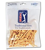 Zero Friction PGA Tour Traditional Bamboo Golf Tees (2-1/8 Inch, Natural, Pack of 100)