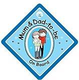 Mum Dad On Board Car Sign BLUE Baby on Board Novelty Car Sign Baby on Board Decal Baby Car Sign Baby Car Sign New Mum and Dad Sign Bumper Sticker Style Sign New Baby Sign Maternity Car Sign