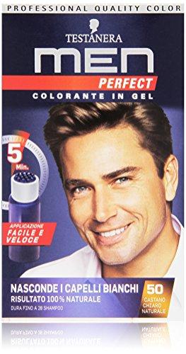 Testanera - Perfect Men, Colorante in Gel, 50 Castano Chiaro Naturale - 1 confezione