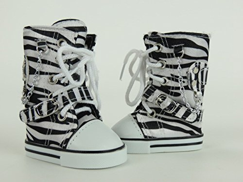 "Zebra Knee High Sneaker Boots -Fits 18"" Dolls"