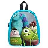Generic Custom Disney Cartoon Monsters University Printed Deep Sky Blue School Bag Backpack Fit Short Trip PU Leather Small