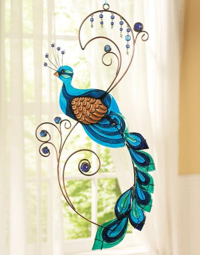 Home decor accents metal peacock wall art by winston brands for Home decorations peacock
