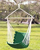 Hanging Rope Chair Porch Swing Seat Patio Camping Max. 265 Lbs (Pink or Green) (Green)