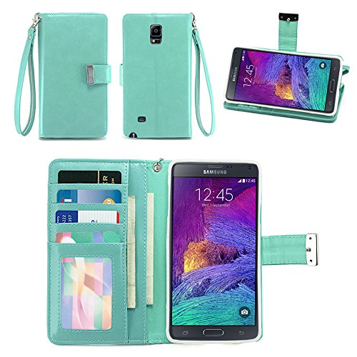 IZENGATE Samsung Galaxy Note 4 Wallet Case - Executive Premium PU Leather Flip Cover Folio with Stand (Mint)