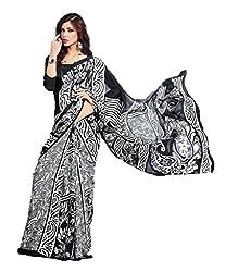 Design Willa Bollywood Style Smooth Crepe Sari (DWSM004,stylish Black and Grey)