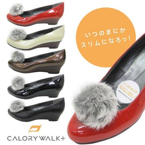CALORY WALK+ カロリーウォーク プラス 着脱式ファー付き レディース パンプス cw1001