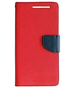 Novo Style Book Style Folio Wallet Case Xiaomi Mi 4i Red + Wired Selfie Stick No Battery Charging Premium Sturdy Design Best Pocket Sized Selfie Stick