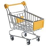Generic Mini Shopping Cart Shaped Storage Basket Desktop Organizer (Yellow)