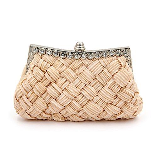Elegant Braided Pleated Glitter Rhinestone Clutch Evening Bag, Cream (Cream Clutch compare prices)