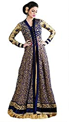 Fashionable Blue Net Embroidered Work Designer Suit