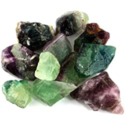 "Crystal Allies Materials: 3lb Bulk Rough Fluorite Stones from China - Large 1"" Raw Natural Stones for Cabbing, Cutting, Lapidary, Tumbling, and Polishing & Reiki Crystal Healing *Wholesale Lot*"