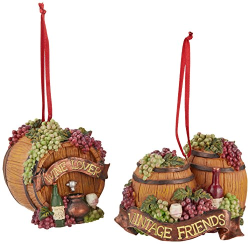 Kurt Adler Wine Barrel Ornaments (Set of 2)