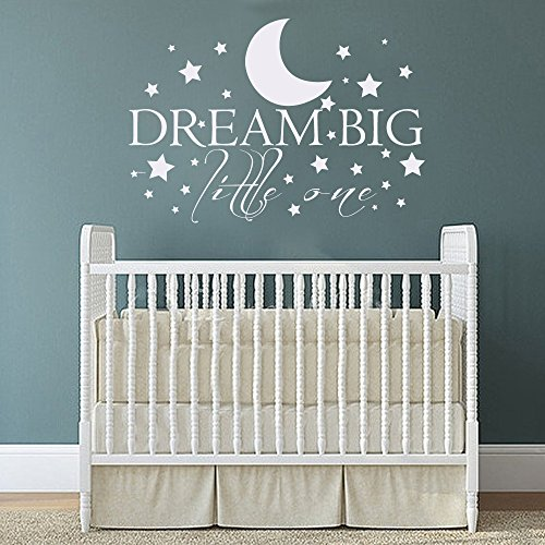 dream-big-little-one-with-stars-baby-nursery-wall-decal-sticker-inspiring-words-vinyl-wall-deal-quot