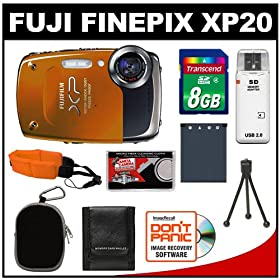 Fuji FinePix XP20 Shock & Waterproof 14.2 MP Digital Camera (Orange) with 8GB Card + Battery + Case + Floating Strap + Accessory Kit