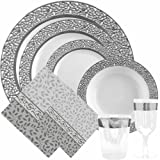 Decor Elegant Disposable Premium Heavy Weight Dinnerware Inspiration Collections, Silver and White, Full Set Includes 10 Dinner Plates 10.25 , 10 Dinner Plates 9 , 10 Salad Plates 7.25 , 10 Soup Bowls, 20 Lunch Napkins, 20 Cocktail Napkin, 10 Tumbler 10 Oz, 10 Wine Cups