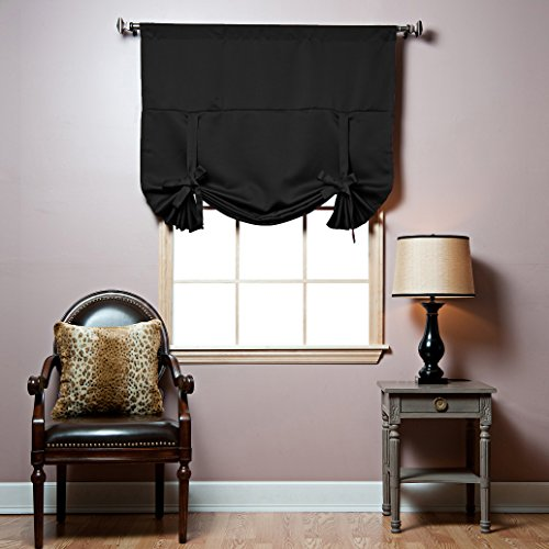 Best Home Fashion Thermal Insulated Blackout Tie-Up Window Shade – Rod Pocket – Black – 42″W x 63″L – (1 Panel)