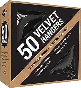 Closet Complete Ultra Thin No Slip Velvet Suit Hangers, Black, Set of 50